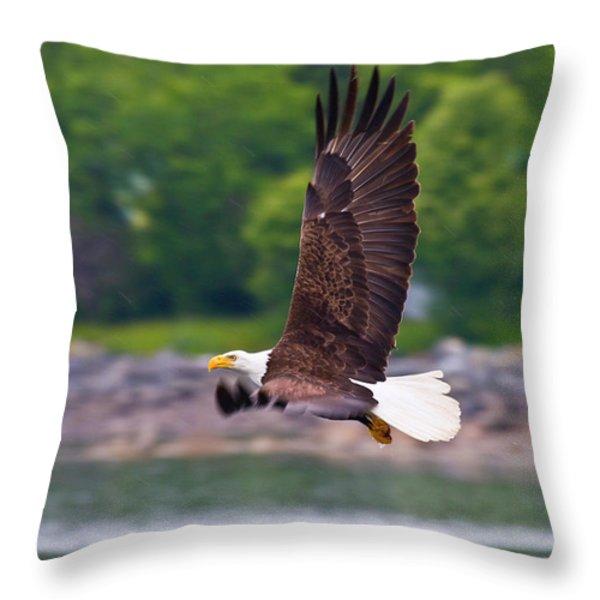Fishing In The Rain Throw Pillow by Mike  Dawson