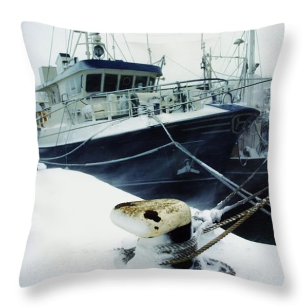Fishing Trawler, Howth Harbour, Co Throw Pillow by The Irish Image Collection