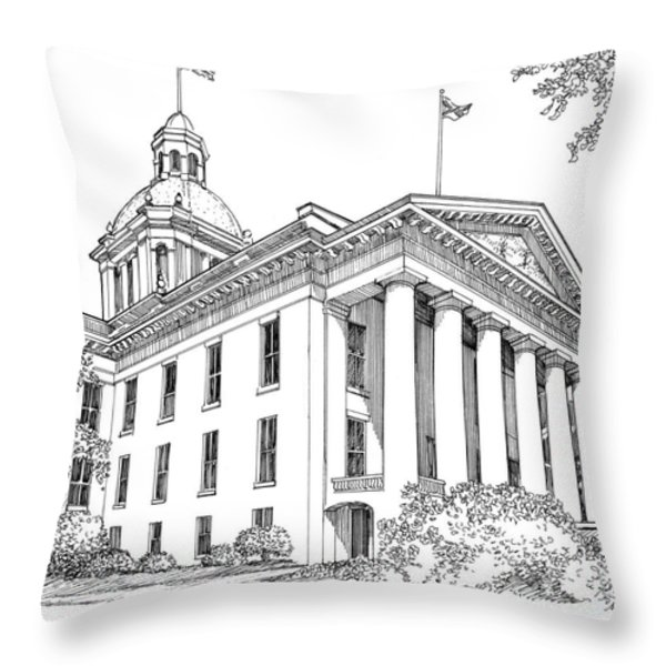 Florida Capitol 1950 Throw Pillow by Audrey Peaty