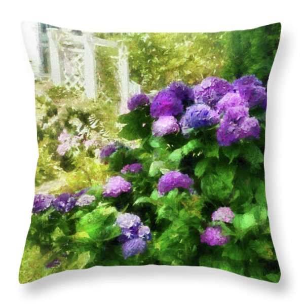 Flower - Hydrangea - Lovely Hydrangea  Throw Pillow by Mike Savad