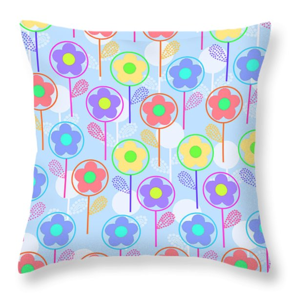 Flowers Throw Pillow by Louisa Knight