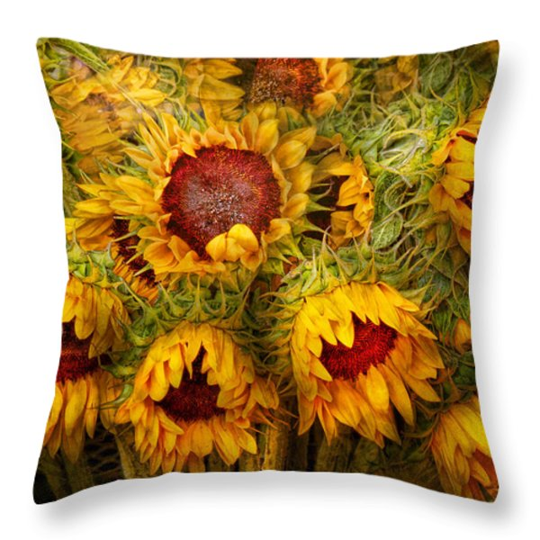 Flowers - Sunflowers - You're my only sunshine Throw Pillow by Mike Savad