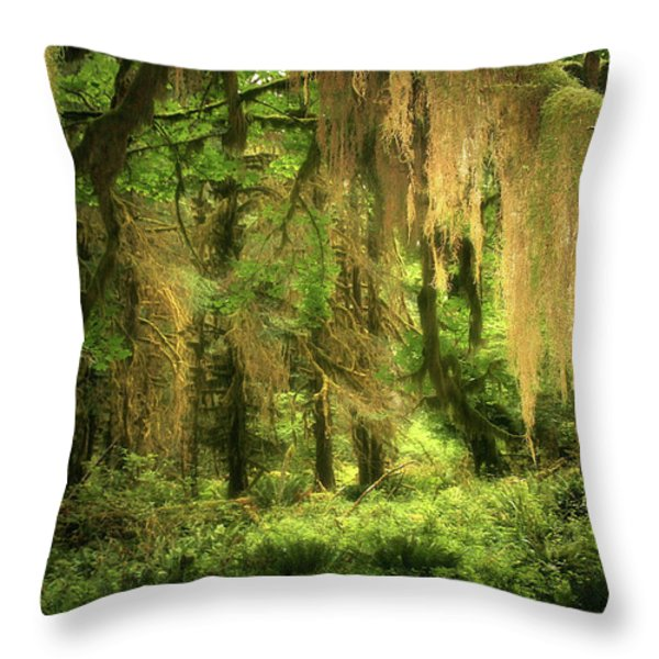 Forest Fantasy - Quinault - Gateway To Paradise On The Olympic Peninsula Wa Throw Pillow by Christine Till