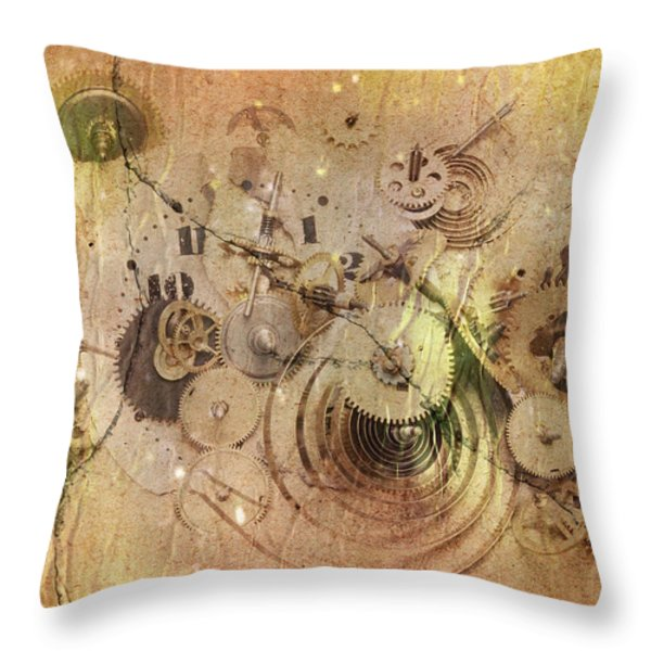 Fragmented Time Throw Pillow by Michal Boubin
