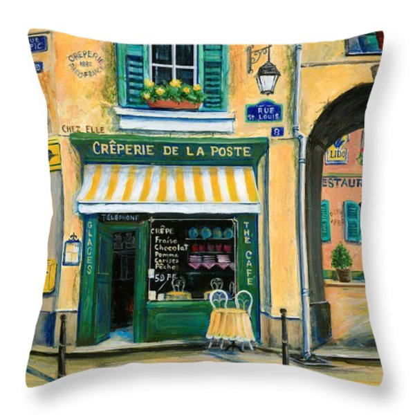 French Creperie Throw Pillow by Marilyn Dunlap