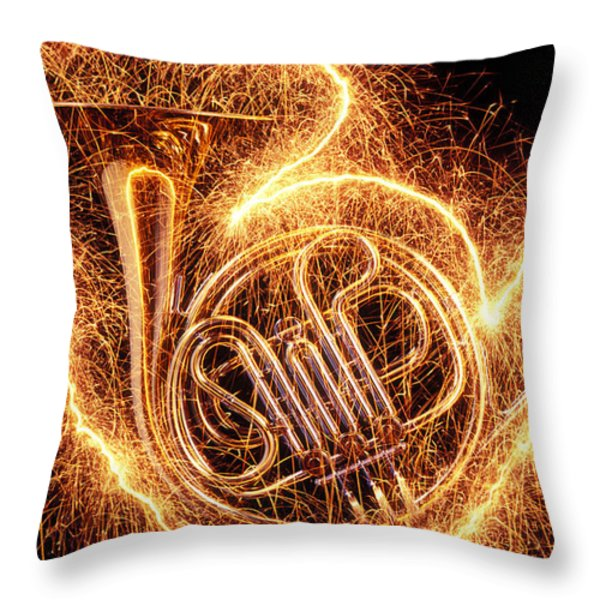 French Horn Outlined With Sparks Throw Pillow by Garry Gay