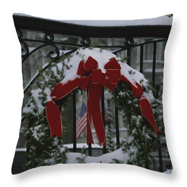 Fresh Snow Covers A Christmas Wreath Throw Pillow by Stephen St. John