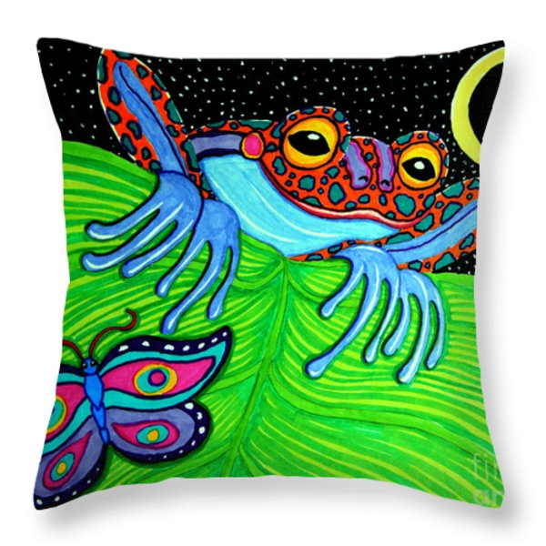 Frog Moon And Butterfly Throw Pillow by Nick Gustafson