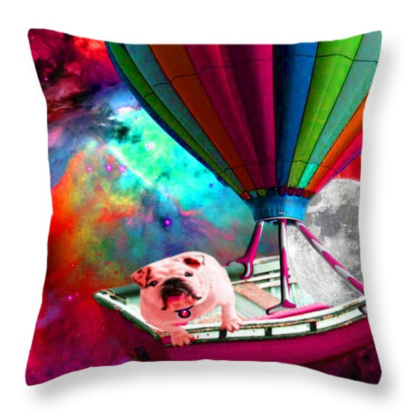 Galaxy Space Dog Throw Pillow by Tisha McGee