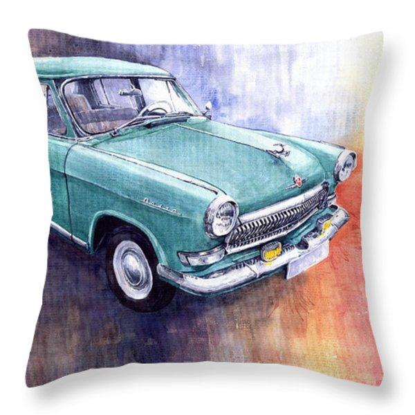 Gaz 21 Volga Throw Pillow by Yuriy  Shevchuk