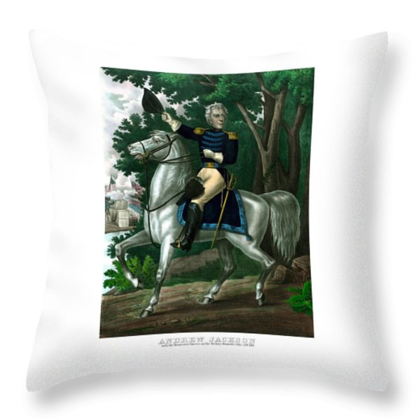 General Andrew Jackson On Horseback Throw Pillow by War Is Hell Store