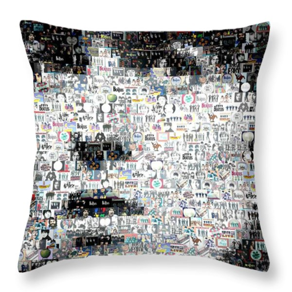 George Harrison Mosaic Throw Pillow by Paul Van Scott