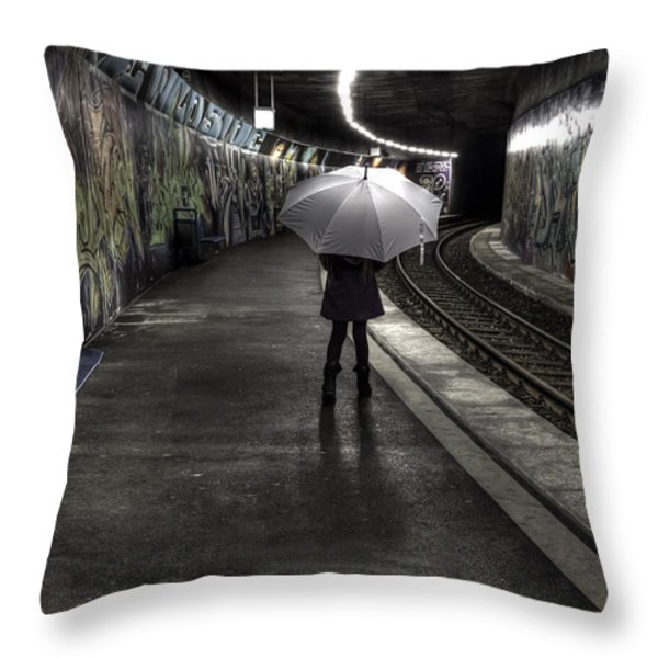 Girl At Subway Station Throw Pillow by Joana Kruse