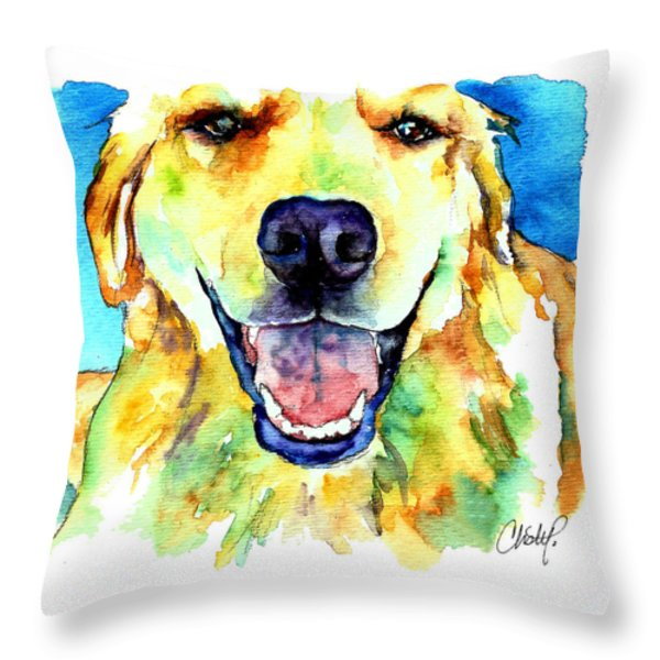 Golden Retriever Portrait Throw Pillow by Christy  Freeman