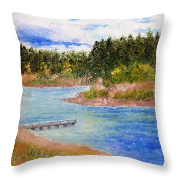 Goldwater Lake Throw Pillow by Jamie Frier