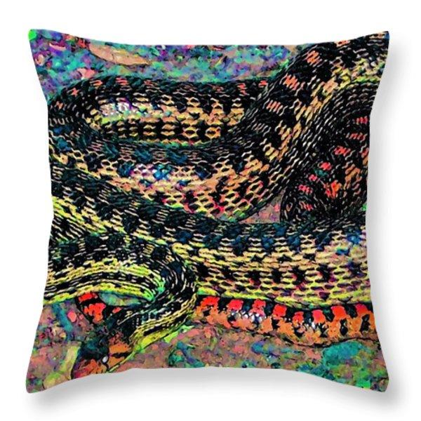 Gopher Snake Throw Pillow by Pamela Cooper