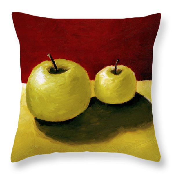 Granny Smith Apples Throw Pillow by Michelle Calkins