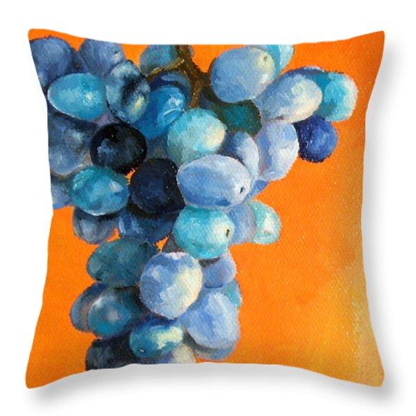 Grapes On Orange Throw Pillow by Diane Kraudelt