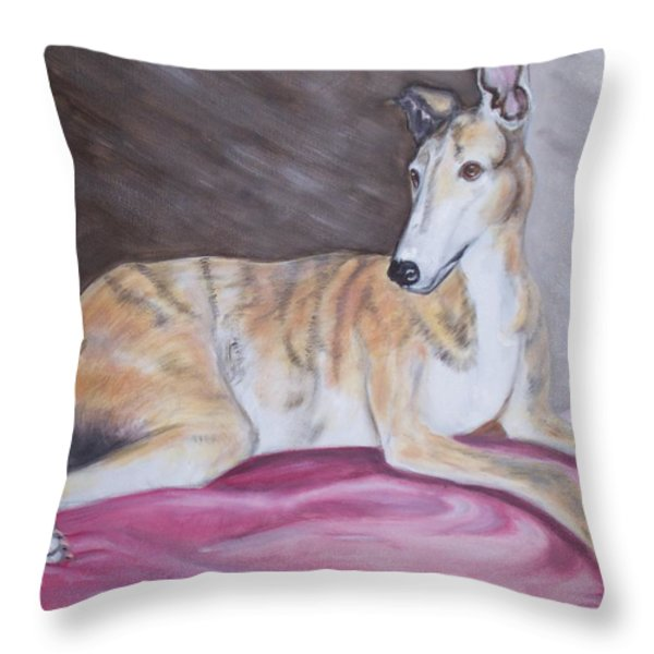 Greyhound Number 2 Throw Pillow by George Pedro