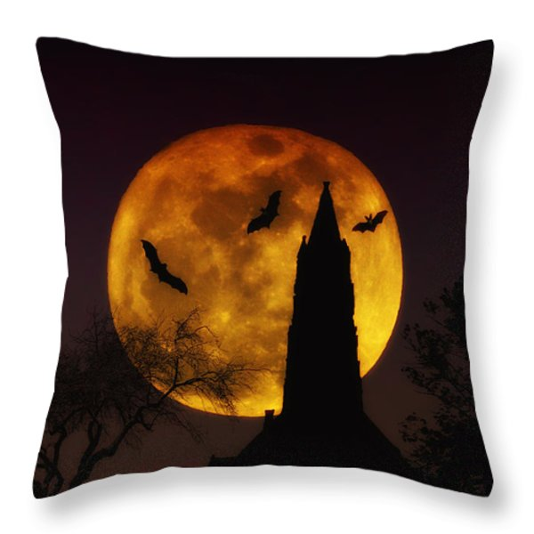 Halloween Moon Throw Pillow by Bill Cannon