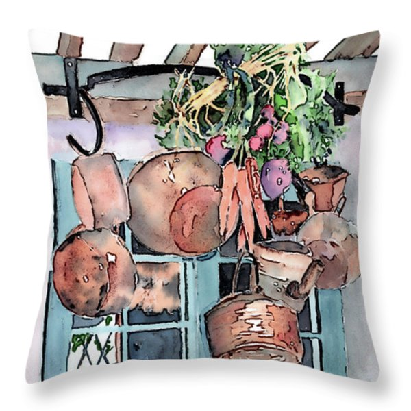 Hanging Pots And Pans Throw Pillow by Arline Wagner