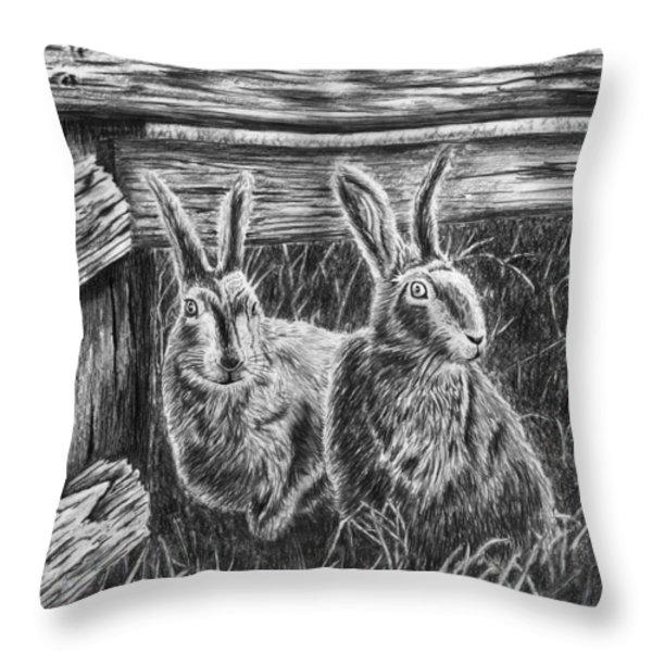Hare Line Throw Pillow by Peter Piatt