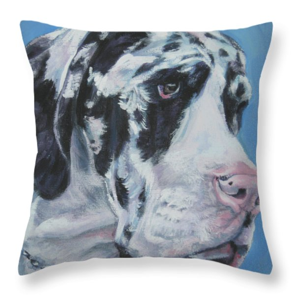 harlequin Great Dane Throw Pillow by Lee Ann Shepard