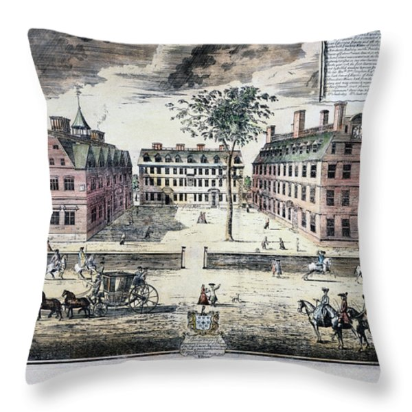 Harvard College, C1725 Throw Pillow by Granger