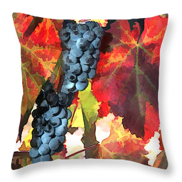 Harvest Time Grapes And Leaves Throw Pillow by Elaine Plesser