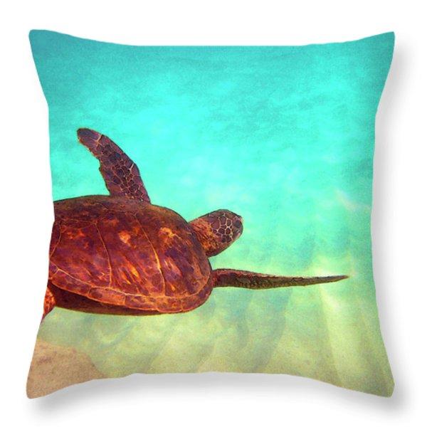 Hawaiian Green Sea Turtle Throw Pillow by Bette Phelan