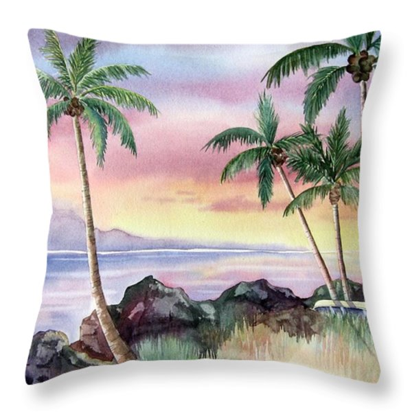 Hawaiian Sunset Throw Pillow by Deborah Ronglien