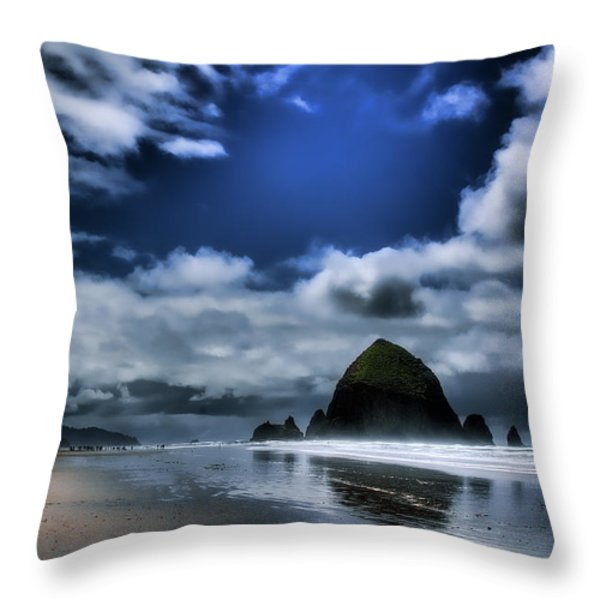 Haystack Rock Throw Pillow by David Patterson