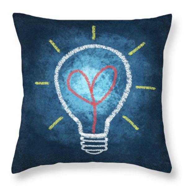 Heart In Light Bulb Throw Pillow by Setsiri Silapasuwanchai