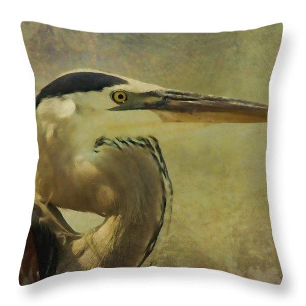 Heron On Texture Throw Pillow by Deborah Benoit