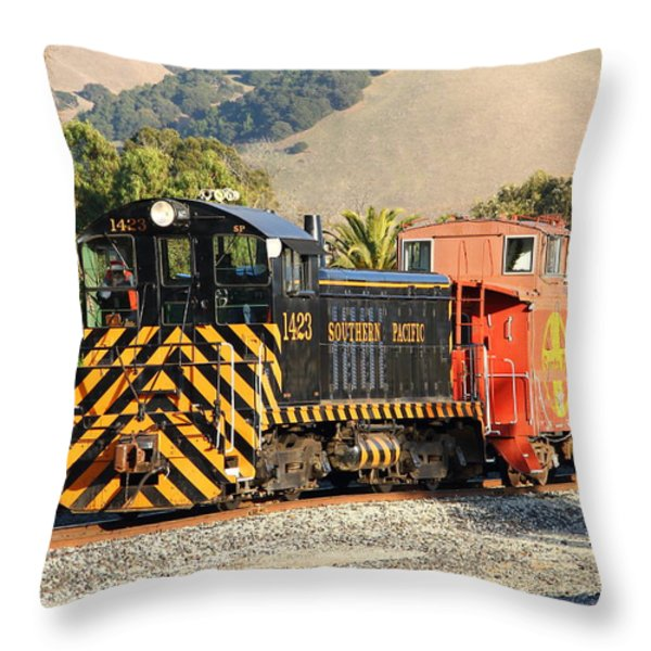 Historic Niles Trains In California . Old Southern Pacific Locomotive And Sante Fe Caboose . 7d10821 Throw Pillow by Wingsdomain Art and Photography