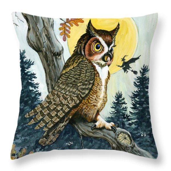 Hooty Hoot Throw Pillow by Richard De Wolfe