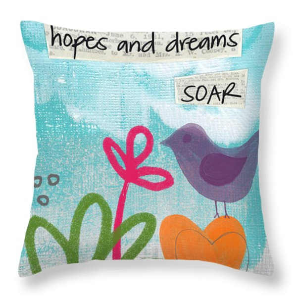 Hopes And Dreams Soar Throw Pillow by Linda Woods