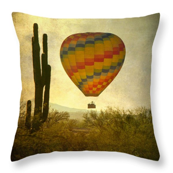 Hot Air Balloon Flight Over The Southwest Desert Throw Pillow by James BO  Insogna