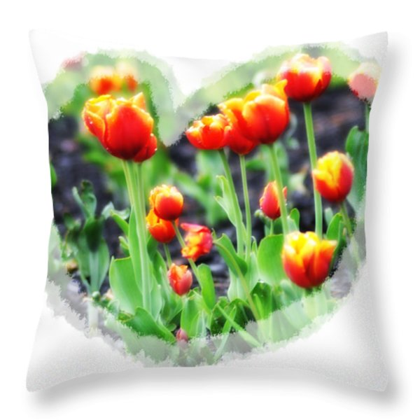 I Heart Tulips Throw Pillow by Bill Cannon