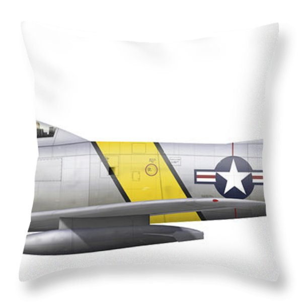 Illustration Of A North American F-86f Throw Pillow by Chris Sandham-Bailey