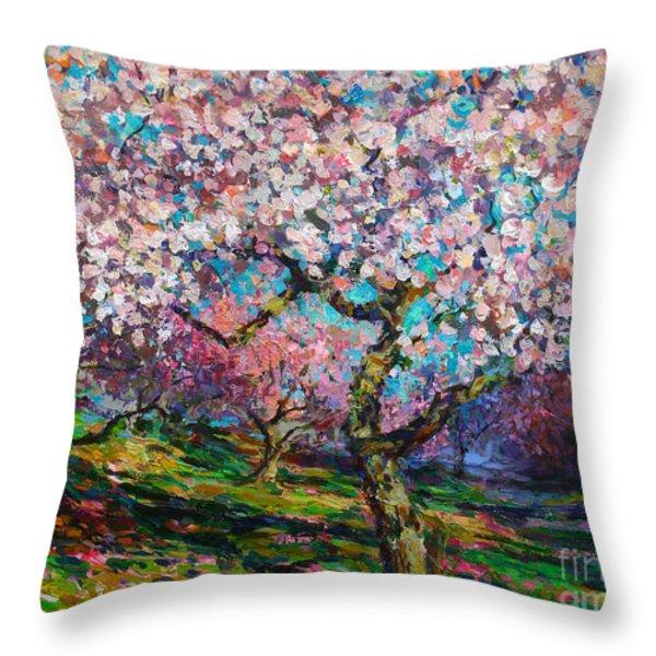 Impressionistic Spring Blossoms Trees Landscape Painting Svetlana Novikova Throw Pillow by Svetlana Novikova