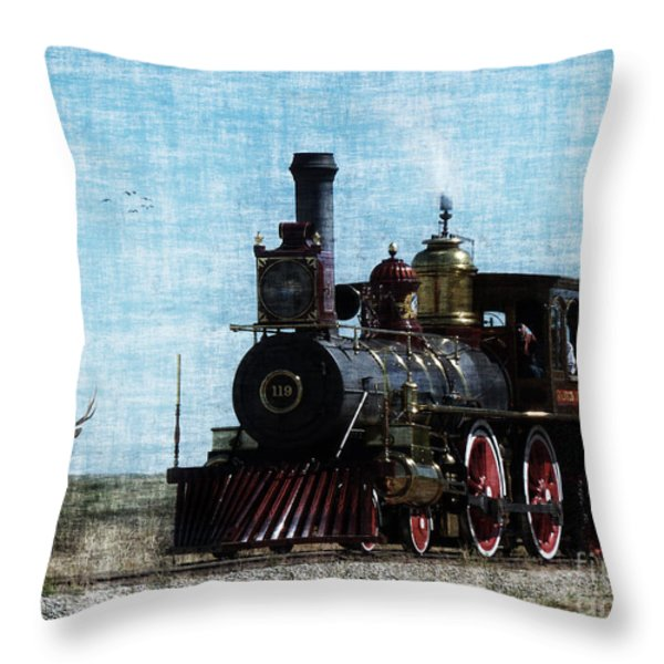 Iron Horse Invades The Plains Throw Pillow by Lianne Schneider