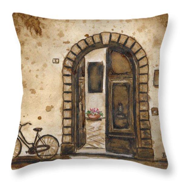 Italian Coffee Break Throw Pillow by Dianne  Ilka