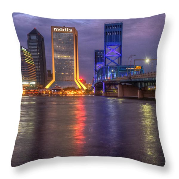 Jacksonville At Dusk Throw Pillow by Debra and Dave Vanderlaan