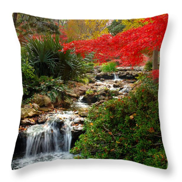 Japanese Garden Brook Throw Pillow by Jon Holiday