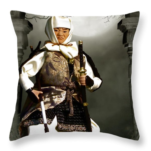 Japanese Samurai Doll Throw Pillow by Christine Till