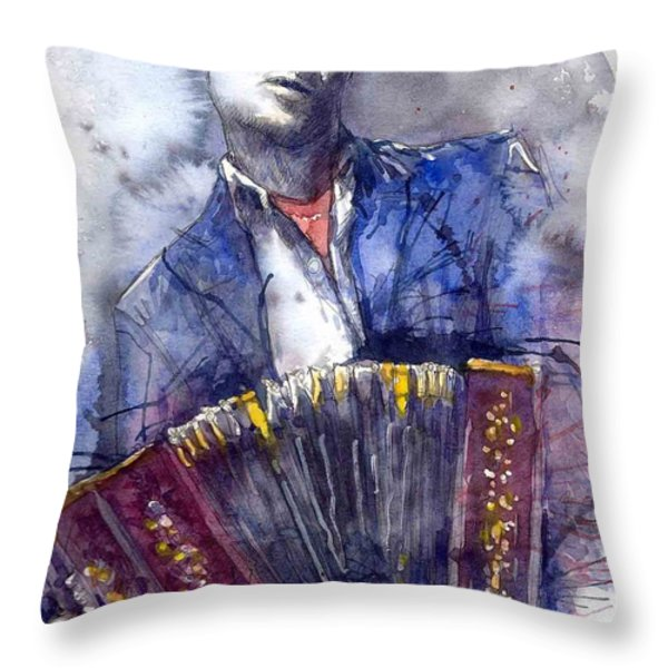 Jazz Concertina Player Throw Pillow by Yuriy  Shevchuk