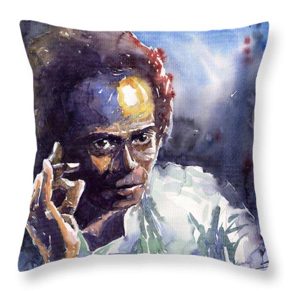 Jazz Miles Davis 11 Throw Pillow by Yuriy  Shevchuk