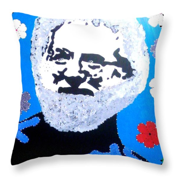 Jerry Garcia In Full View Throw Pillow by Robert Margetts