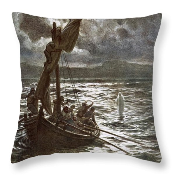 Jesus Walking Upon The Sea Throw Pillow by William Brassey Hole